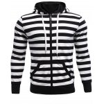 Striped Zip Up Black and White Hoodie Mens