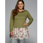 cheap Ruched Floral T-Shirt