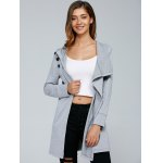cheap Inclined Button Front Slit Hoodie