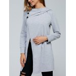 Inclined Button Front Slit Hoodie
