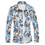 Plus Size 3D Leaves Print Long Sleeve Shirt