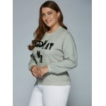 cheap Kat Me Letter Oversized Sweatshirt with 3D Eyes
