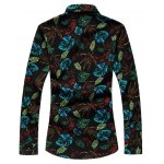 cheap Plus Size 3D Colorful Leaves Print Long Sleeve Shirt