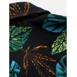 Plus Size 3D Colorful Leaves Print Long Sleeve Shirt for sale