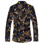 cheap Plus Size 3D Birds and Leaves Print Long Sleeve Shirt