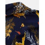 Plus Size 3D Birds and Leaves Print Long Sleeve Shirt for sale