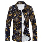 Plus Size 3D Birds and Leaves Print Long Sleeve Shirt