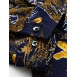 best Plus Size 3D Birds and Leaves Print Long Sleeve Shirt