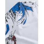 Plus Size Bird and Floral Print V-Neck Long Sleeve T-Shirt deal