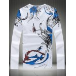 cheap Plus Size Bird and Floral Print V-Neck Long Sleeve T-Shirt