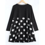 cheap Plus Size Polka Dot Graffiti Long Sleeve Dress