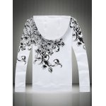 cheap Plus Size Hooded Bird and Floral Print Zip-Up Hoodie
