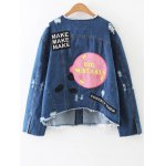 cheap Raw Edge Patched Back Denim Jacket
