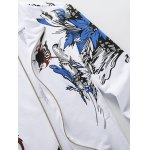 Plus Size Hooded Birds and Florals Print Zip-Up Hoodie deal