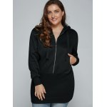cheap Plus Size Zip Up Hooded Dress