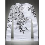 cheap Plus Size Bird and Florals Print V-Neck Long Sleeve T-Shirt