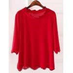 Plus Size 3/4 Sleeves Wave Cut Knitwear