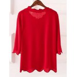 cheap Plus Size 3/4 Sleeves Wave Cut Knitwear