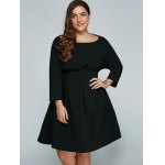cheap Plus Size Empire Waisted Flare Dress