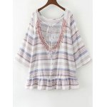 cheap Flared Sleeve Striped Tunic Top
