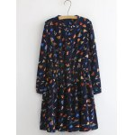 Plus Size Button Design Leaf Print Dress