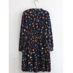 cheap Plus Size Button Design Leaf Print Dress