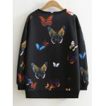 cheap Chumo Sweatshirt in Longline with Butterfly Print