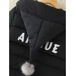Real Deal Plus Size Pompon Hodded Puffer Jacket for sale
