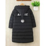 cheap Real Deal Plus Size Pompon Hodded Puffer Jacket