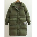 Single-Breasted Patch Spliced Long Padded Coat