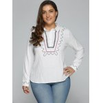 cheap Plus Size Embroidered Trim Shirt