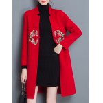 cheap Floral Embroidered Long Coat