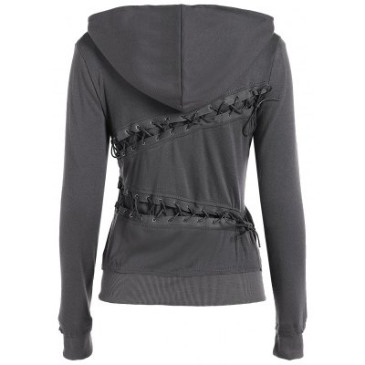 Hooded Long Sleeve Lace-Up Solid Color Hoodie
