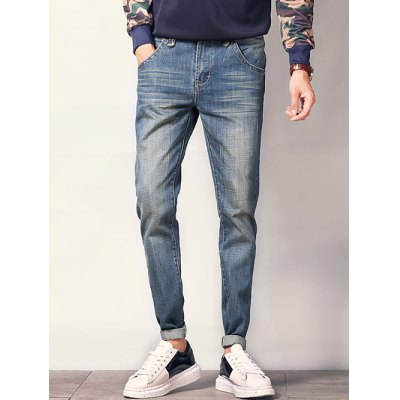 Pocket Design Zipper Fly Scratched Tapered Jeans