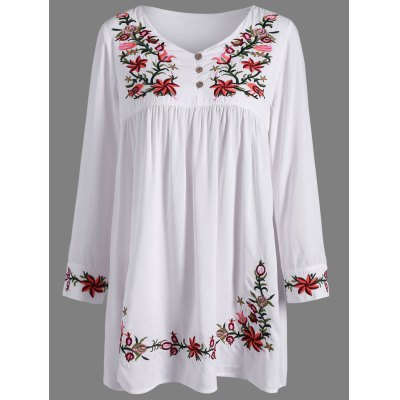 Ruffle Flower Embroidered Dress