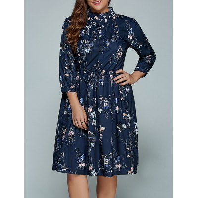 Plus Size Printed Long Sleeve Shirt Dress