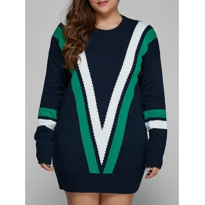 Plus Size V Shape Patchy Fitted Winter Jumper Dress