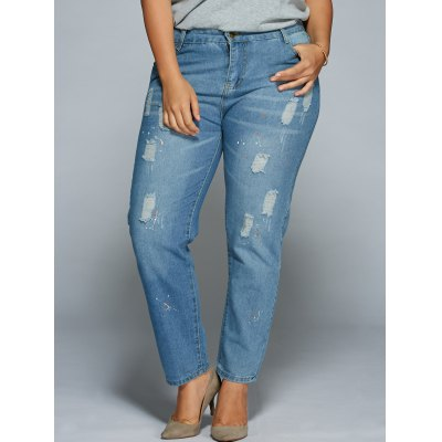 Plus Size Ripped Bodycon Jeans