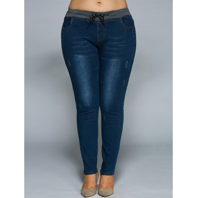 Plus Size Drawstring Bodycon JeansPlus Size Bottoms<br>Plus Size Drawstring Bodycon Jeans<br><br>Style: Casual<br>Length: Normal<br>Material: Jeans,Spandex<br>Fit Type: Skinny<br>Waist Type: Mid<br>Closure Type: Drawstring<br>Pattern Type: Patchwork<br>Pant Style: Pencil Pants<br>Weight: 0.470kg<br>Package Contents: 1 x Jeans