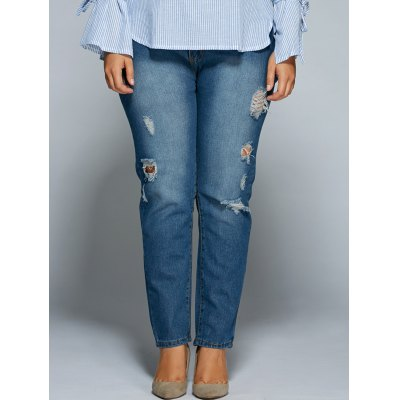 Plus Size Ripped Broken Hole Bodycon Jeans