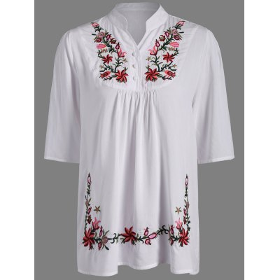 Ruffle Flower Embroidered Blouse