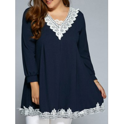 Baggy Lace Spliced Long Blouse