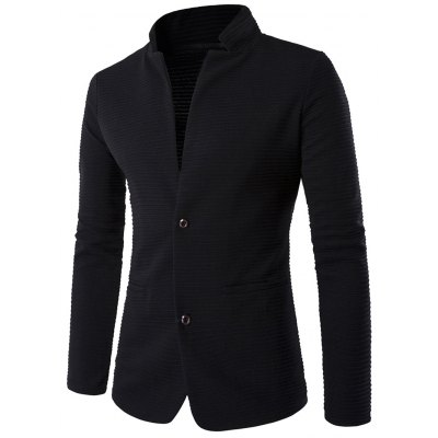 Elbow Patch Stand Collar Single-Breasted Rib Blazer