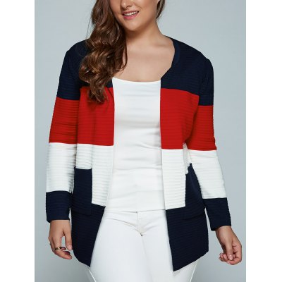 Color Block Plus Size Cardigan With Pockets