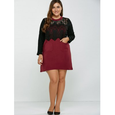 Lace Patchwork Openwork Wool Dress