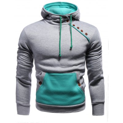 Color Block Splicing Oblique Buttons Embellished Hoodie