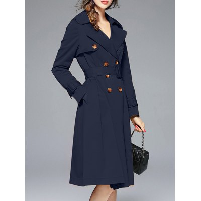 Lapel Double-Breasted Belted Trench Coat