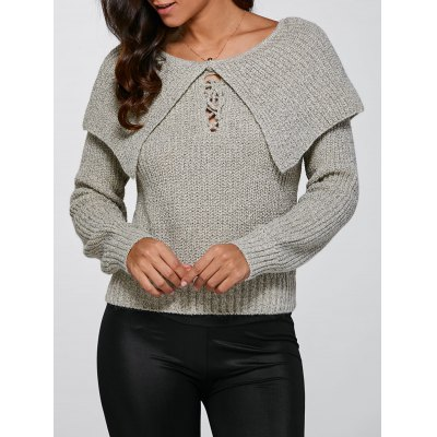 Lace-Up Pullover Knitted Sweater