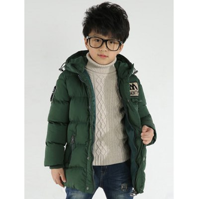 Zip Up Appliqued Hooded Padded Coat