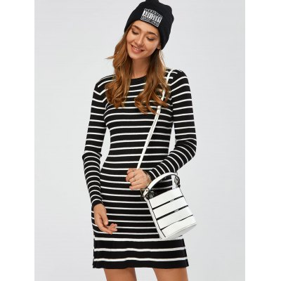 Pleated Striped Jumper Dress